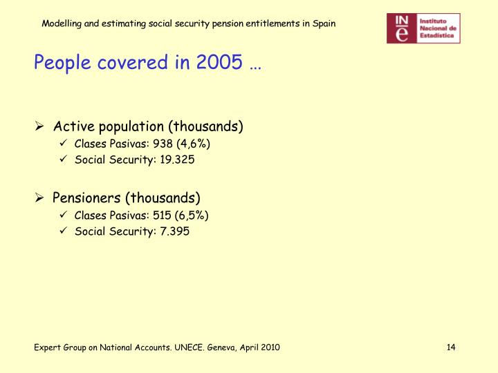 People covered in 2005 …