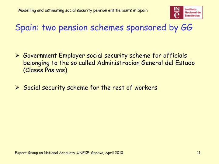 Spain: two pension schemes sponsored by GG