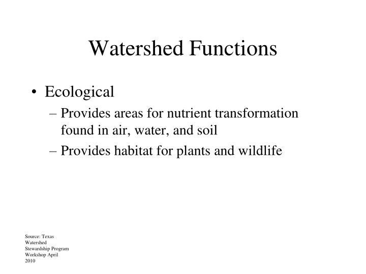 Watershed Functions