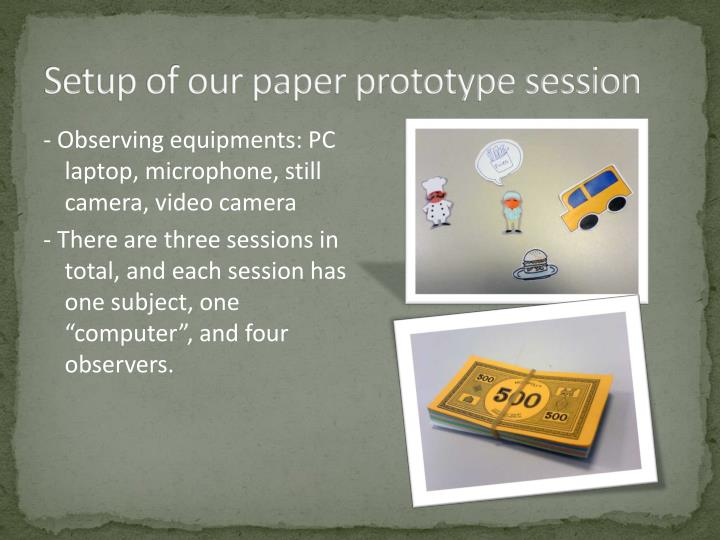 Setup of our paper prototype session