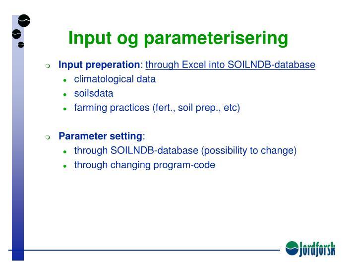Input og parameterisering