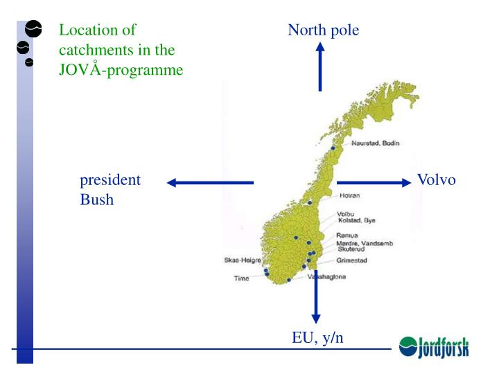 Location of catchments in the JOVÅ-programme
