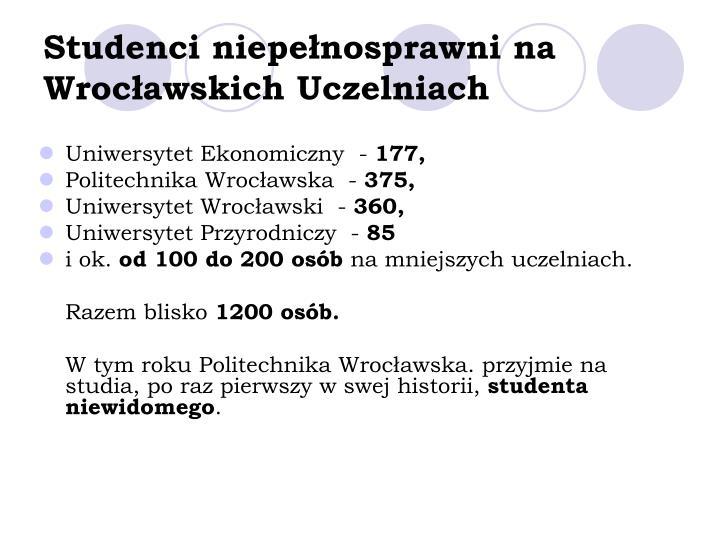 Studenci niepełnosprawni na Wrocławskich Uczelniach