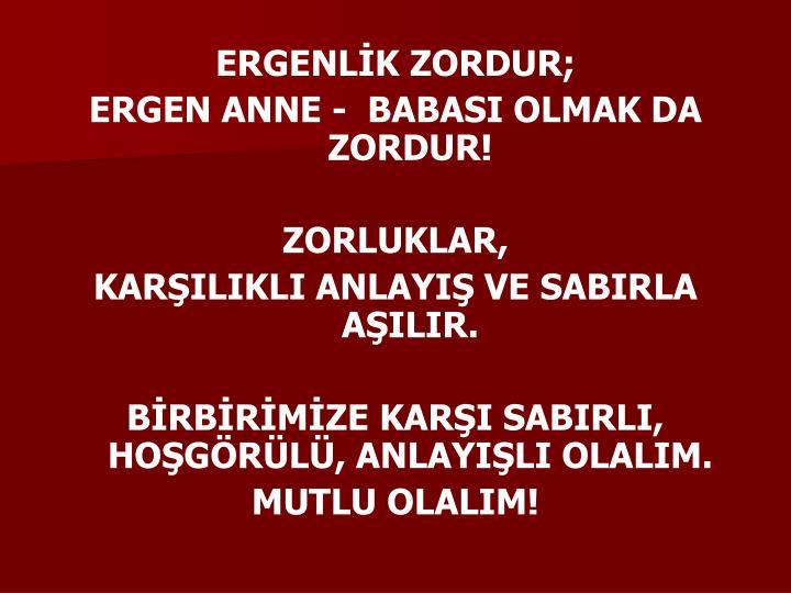 ERGENLİK ZORDUR;