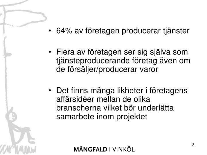 64% av företagen producerar tjänster