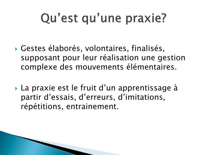 Qu'est qu'une praxie?