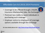 affordable care act aca 2014 provisions