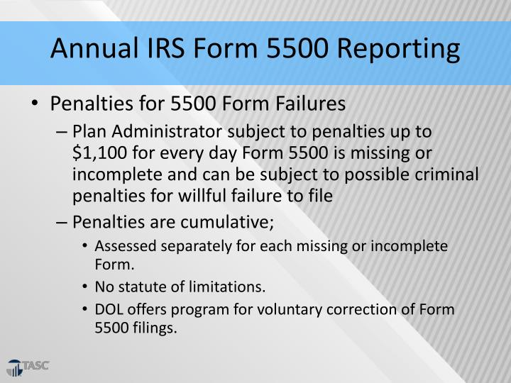 Annual IRS Form 5500 Reporting