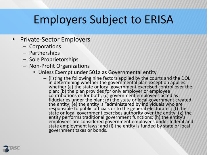 Employers Subject to ERISA