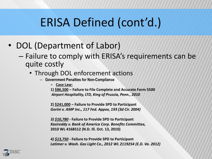ERISA Defined (cont'd.)
