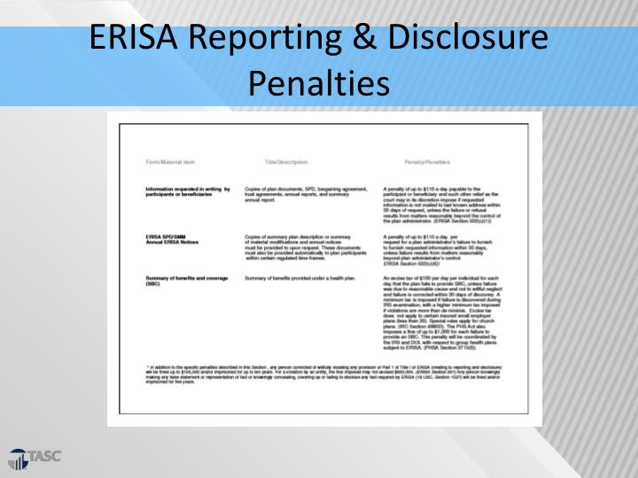 ERISA Reporting & Disclosure Penalties