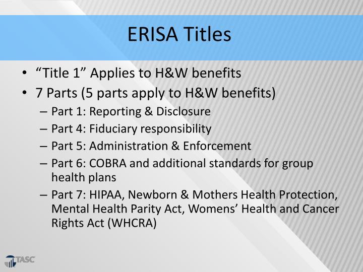 ERISA Titles