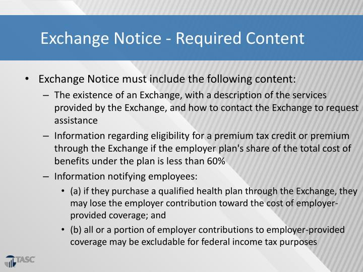 Exchange Notice - Required Content