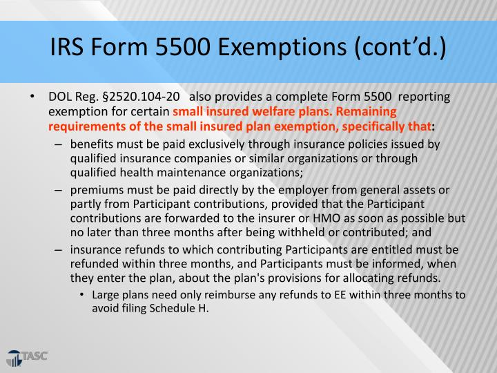 IRS Form 5500 Exemptions (cont'd.)