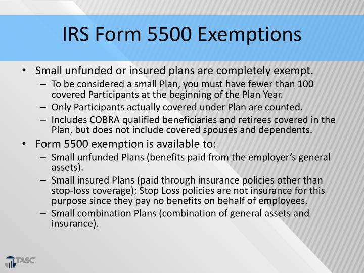 IRS Form 5500 Exemptions