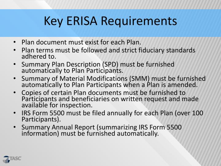 Key ERISA Requirements