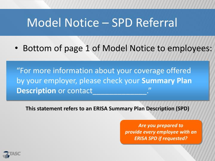 Model Notice – SPD Referral