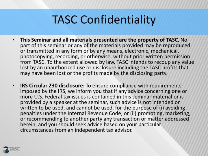 TASC Confidentiality
