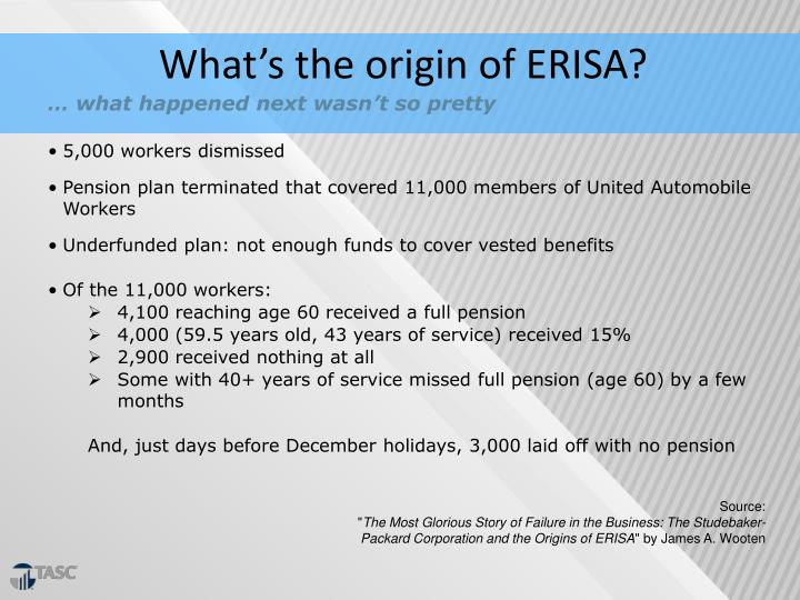 What's the origin of ERISA?