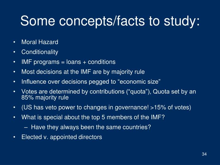 Some concepts/facts to study: