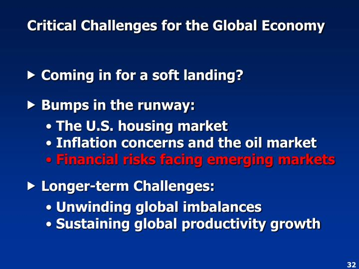 Critical Challenges for the Global Economy