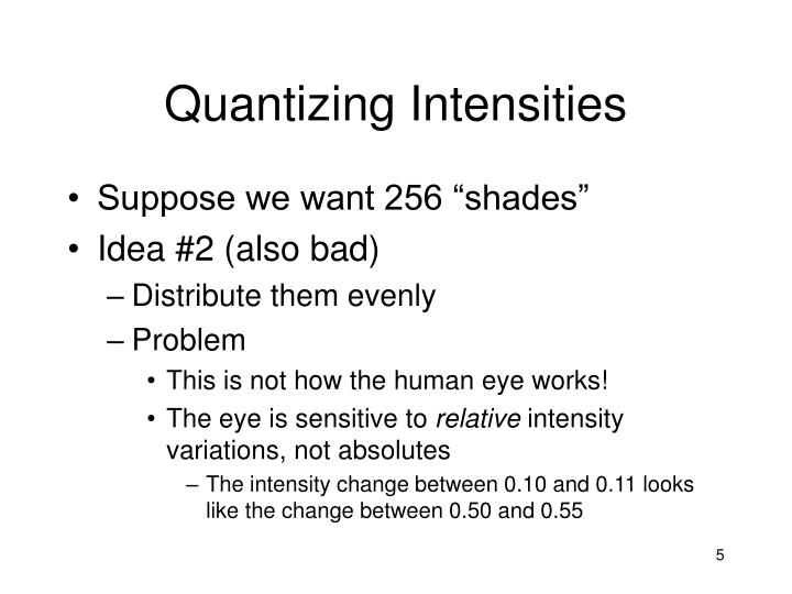 Quantizing Intensities