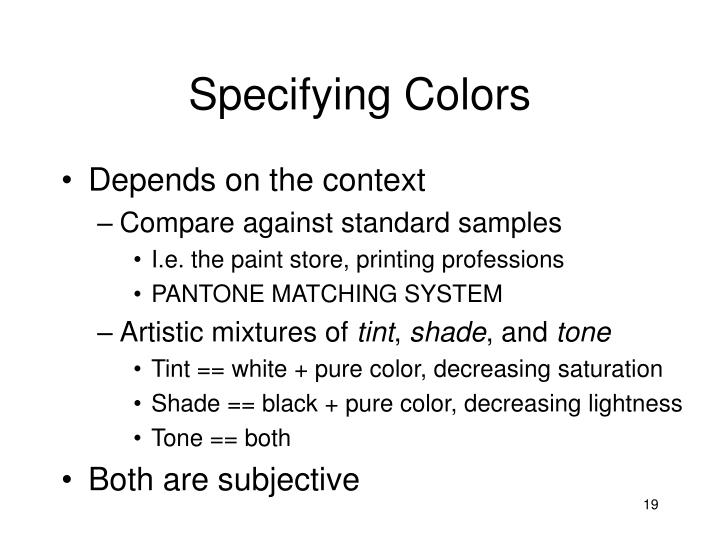 Specifying Colors