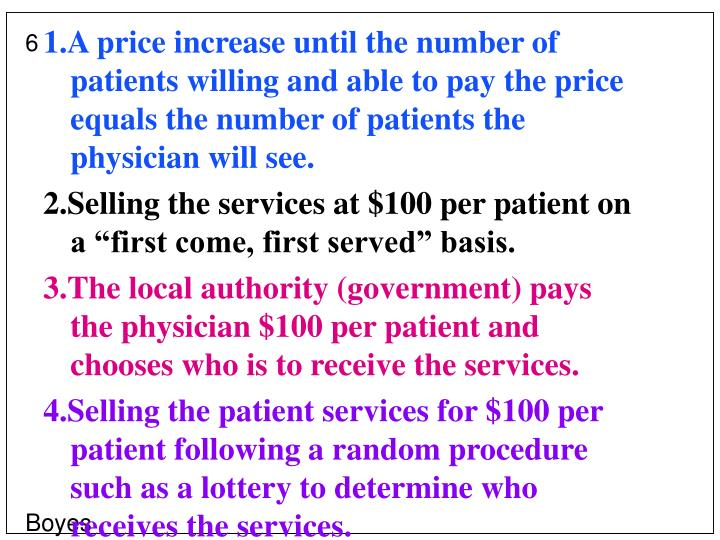 1.A price increase until the number of patients willing and able to pay the price equals the number of patients the physician will see.