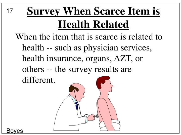 Survey When Scarce Item is Health Related