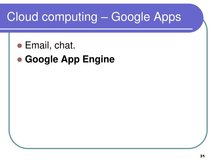 Cloud computing – Google Apps