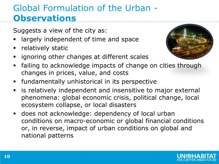 Global Formulation of the Urban -