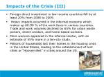 impacts of the crisis iii