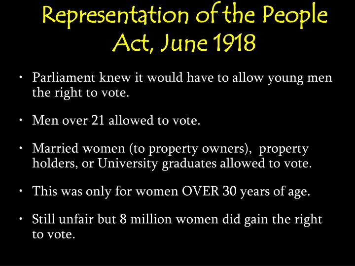 Representation of the People Act, June 1918