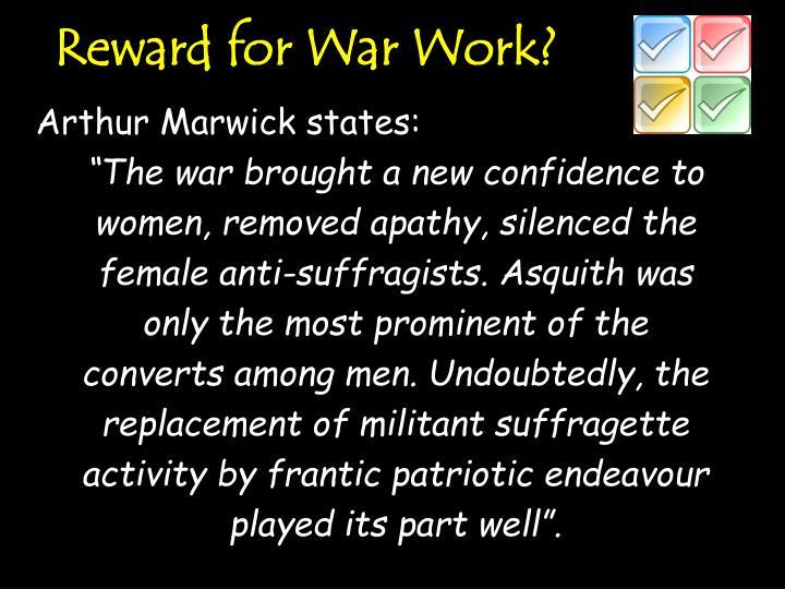 Reward for War Work?