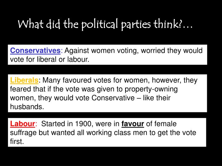 What did the political parties think?…
