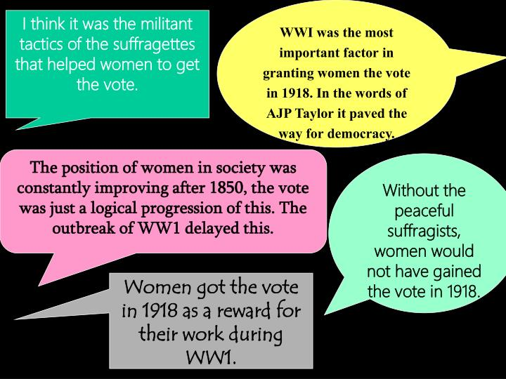 WWI was the most important factor in granting women the vote in 1918. In the words of AJP Taylor it paved the way for democracy.