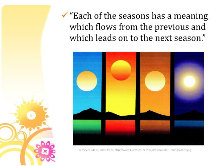 """Each of the seasons has a meaning which flows from the previous and which leads on to the next season."""
