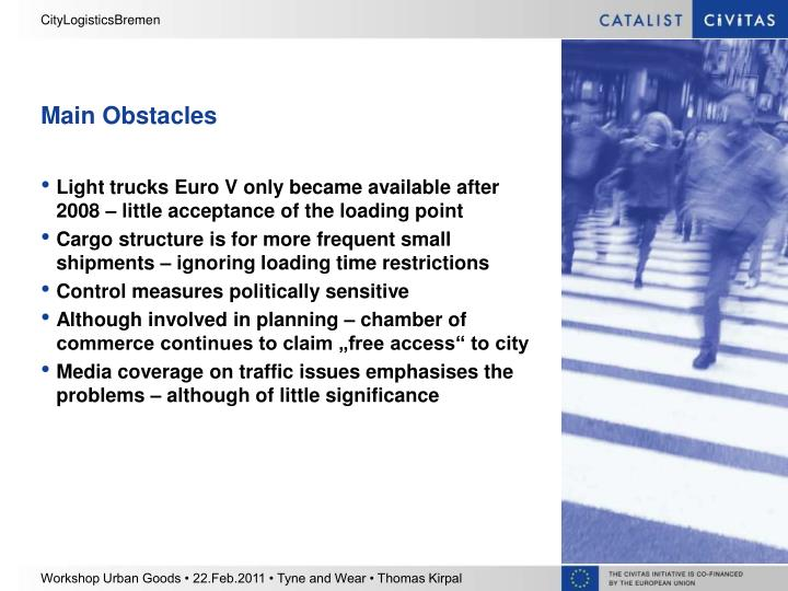 Main Obstacles