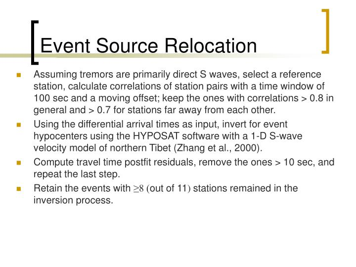 Event Source Relocation