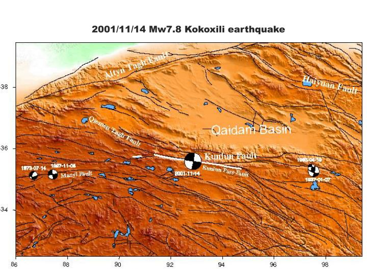 2001/11/14 Mw7.8 Kokoxili earthquake