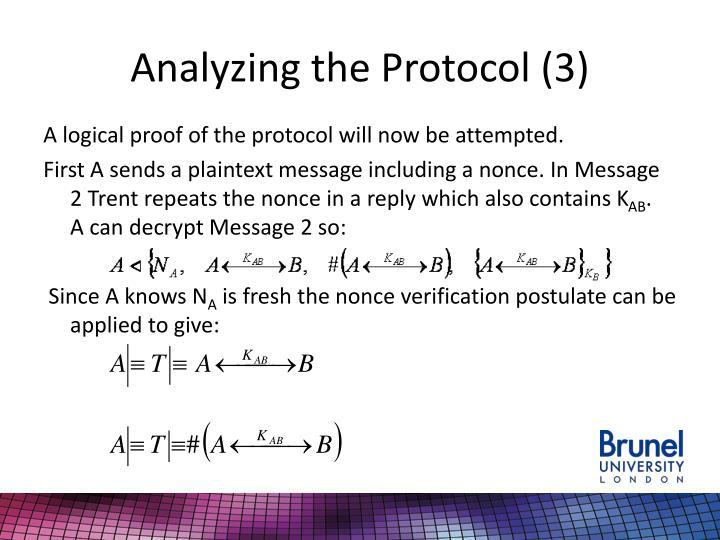 Analyzing the Protocol (3)