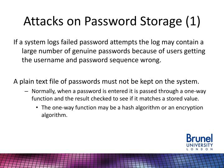 Attacks on Password Storage (1)