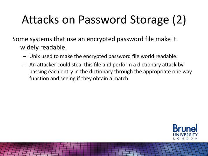 Attacks on Password Storage (2)