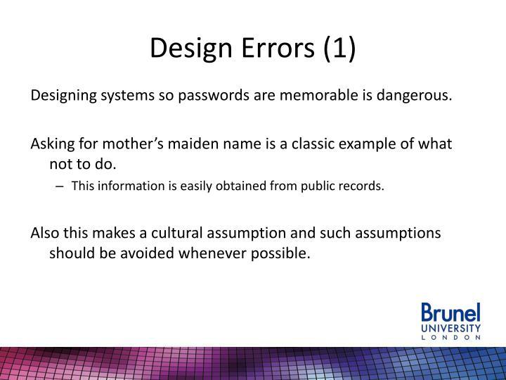 Design Errors (1)