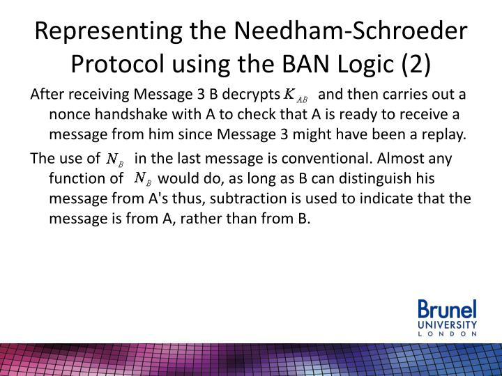 Representing the Needham-Schroeder Protocol using the BAN Logic (2)