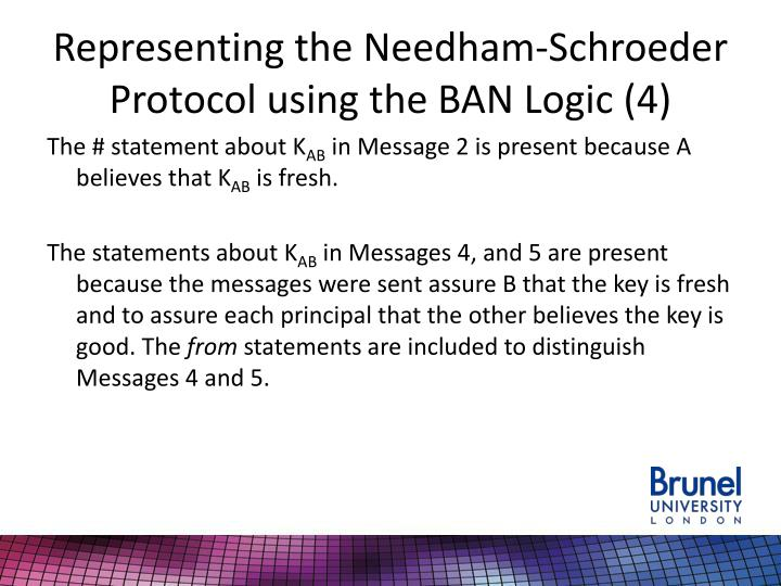 Representing the Needham-Schroeder Protocol using the BAN Logic (4)