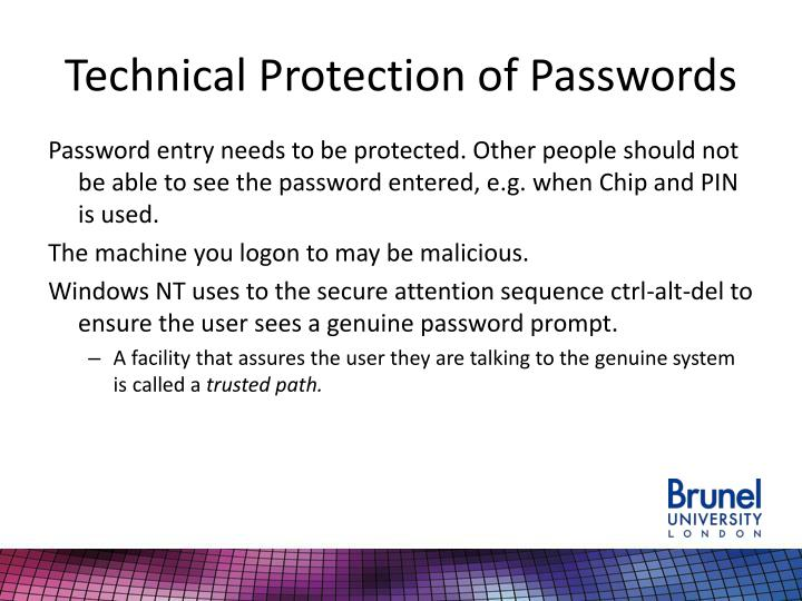Technical Protection of Passwords