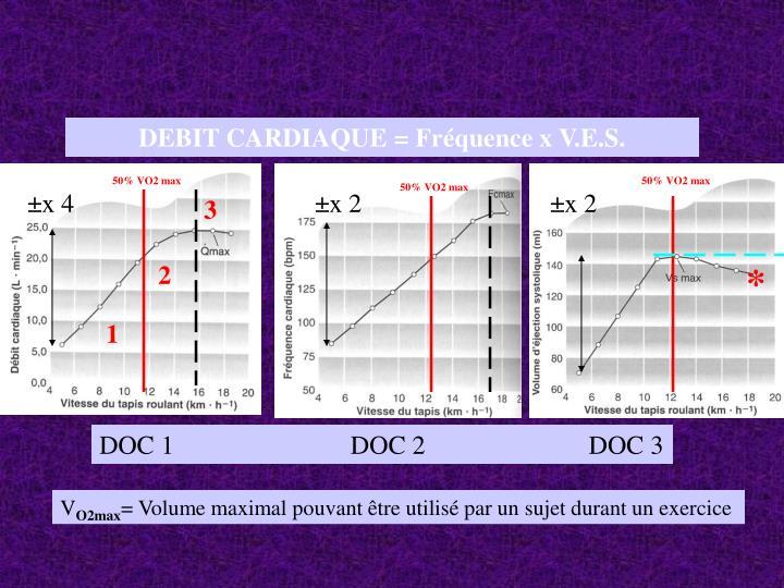 DEBIT CARDIAQUE = Fréquence x V.E.S.