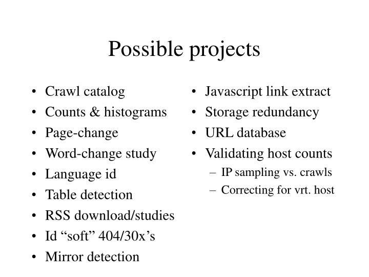 Crawl catalog