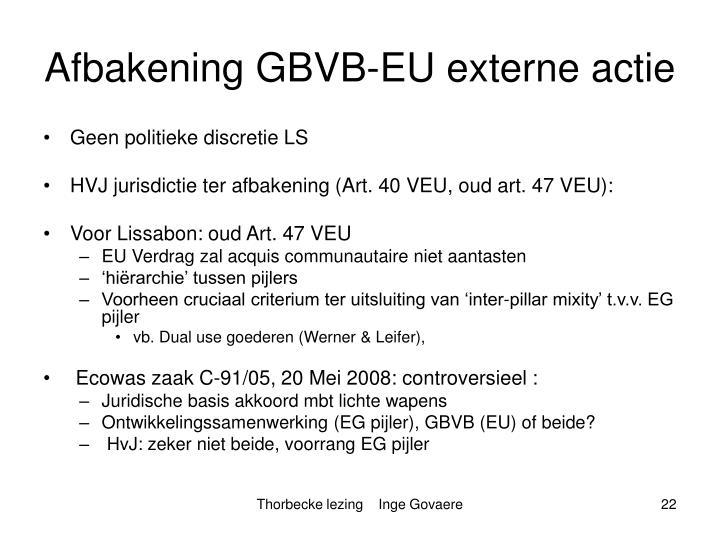 Afbakening GBVB-EU externe actie